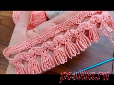 How to crochet knitting Tığ işi zincirli sahanee bir model😍