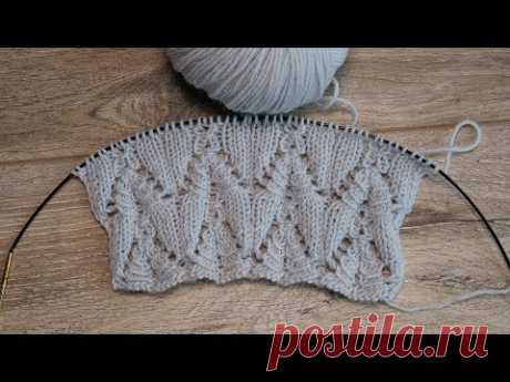 «Еловый» узор спицами, видео   «Spruce» knitting pattern