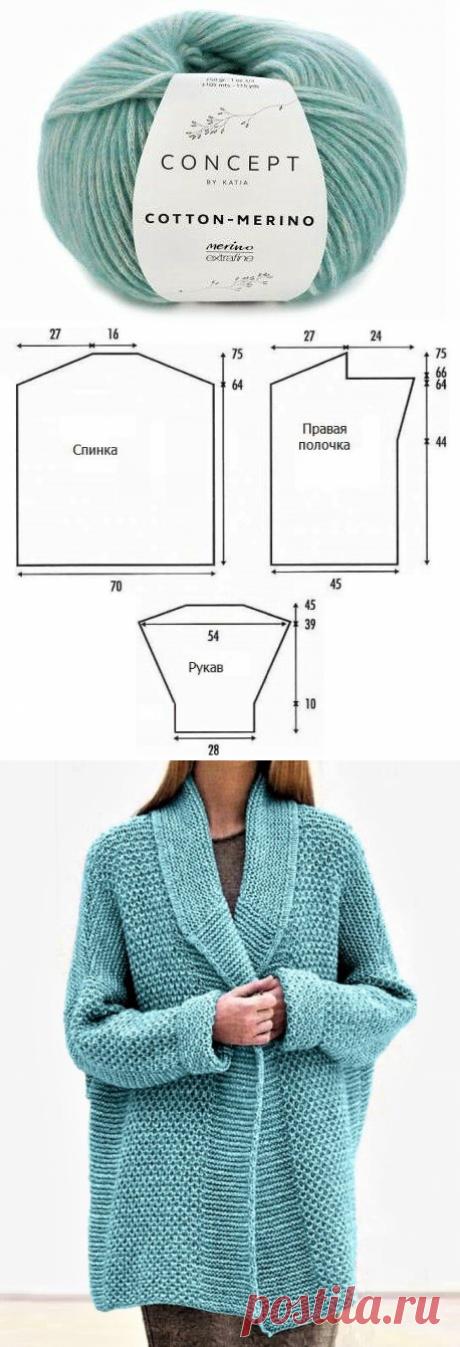 Уютный жакет несложным узором спицами, с описанием и схемами | Идеи рукоделия | Яндекс Дзен