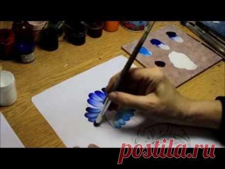 Dibujamos las flores en la técnica uralo-siberiana de la pintura - YouTube