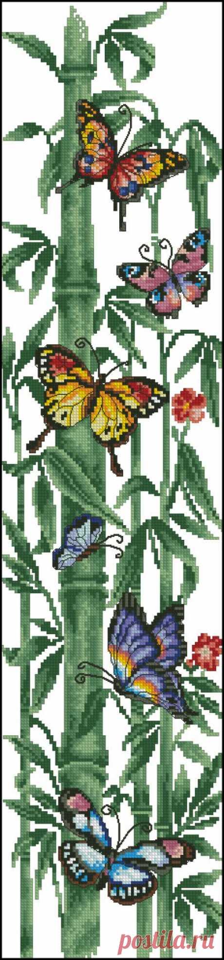 Бамбук и бабочки. Для профессионалов и самых упорных искустниц.Вышивка крестом.