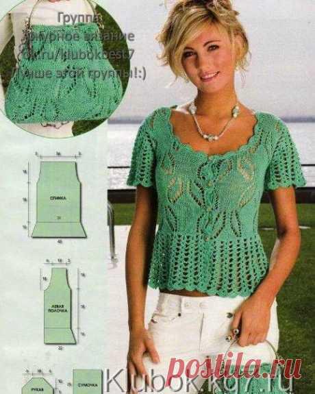 Зеленая ажурная блузка (кофточка) и сумка на лето. (Спицы)