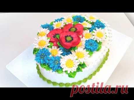 Торт - васильки, ромашки, маки(крем БЗК). /Cake-cornflowers, chamomiles, poppies(protein custard).