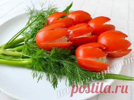 """Поздравляю всех женщин с праздником! Готовим к 8 Марта салат """"Тюльпаны"""" из помидоров. Эффектно, вкусно и просто."""