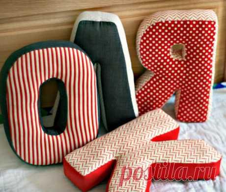 Мягкие объемные буквы-подушки. Шитье