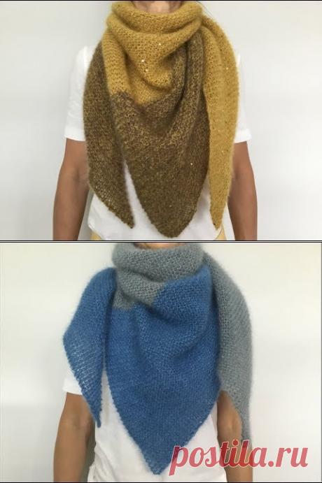 (448) Двухцветный шейный платок Бактус. Работа над ошибками.Two-tone simple shawl. - YouTube