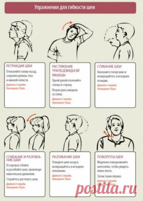 Упражнения при шейном остеохондрозе | Правила здоровья и долголетия