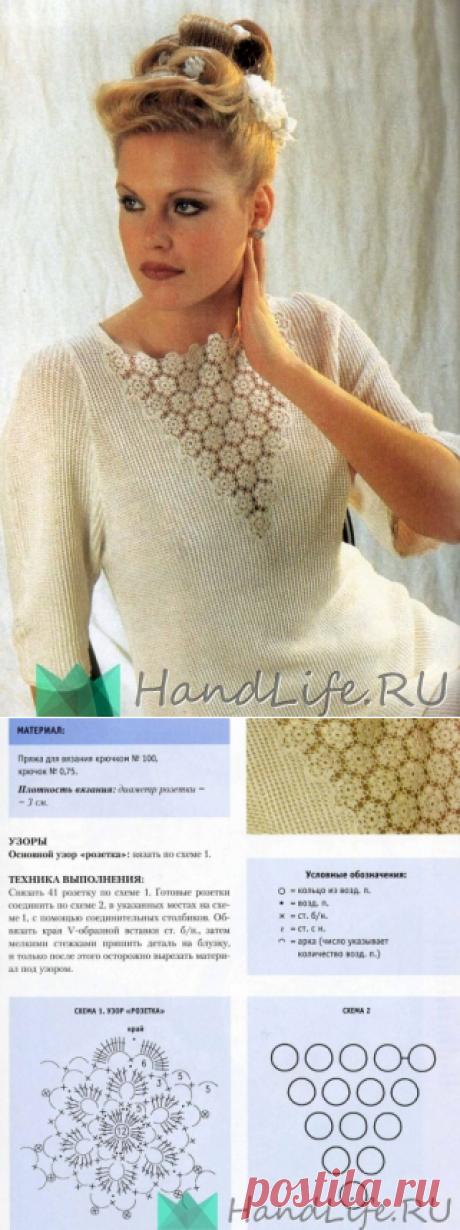 Блузка с кружевной вставкой / Вязание крючком