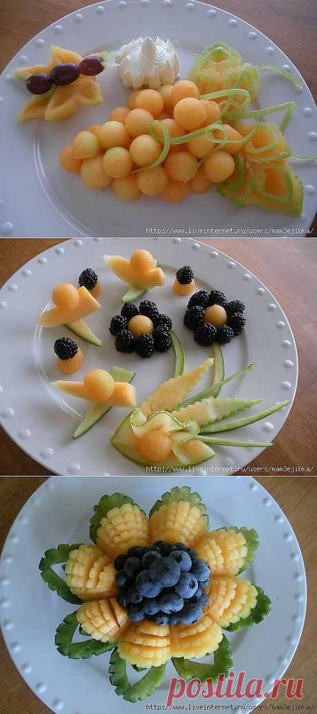 Water-melon and melon carving.