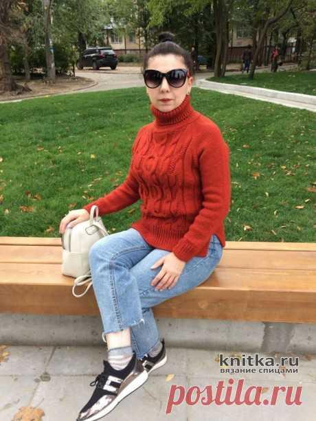 Женский свитер спицами Красный кирпич. Работа Анаит, Вязание для женщин