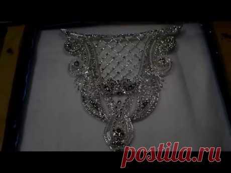 Люневильская вышивка для свадебного платья - YouTube