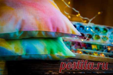 Красим ткань акварельными красками | Живые вещи | Яндекс Дзен