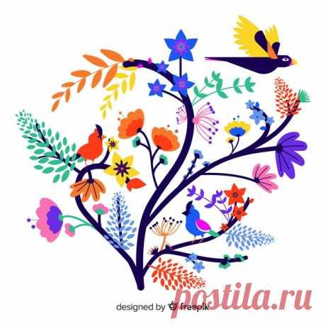 Descarga gratis Rama floral colorido plano con colibrí Descubre miles de vectores gratis y libres de derechos en Freepik