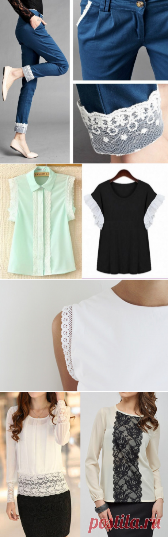 Женственное кружево: 37 идей декора для блузок и рубашек. Красота в деталях! — Мой милый дом