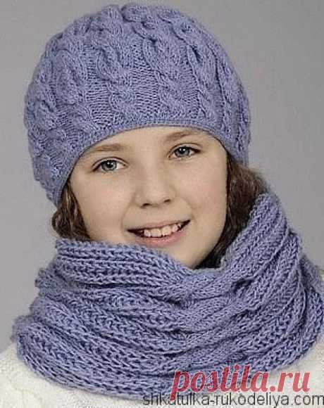 Зимняя детская шапка спицами схема фото 321
