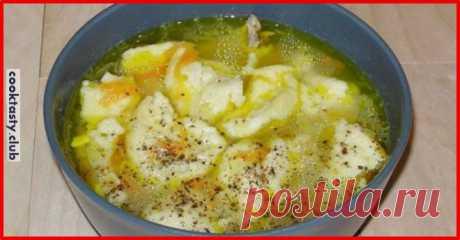 Суп с чесночными галушками . Милая Я Суп с чесночными галушками — отличное блюдо для разнообразия вашего меню. Готовится он просто и довольно быстро.Такой супчик получается очень ароматным, сытным и понравится даже деткам. Ведь эти небольшие галушки так весело вылавливаем из супа. Для супа понадобится мало продуктов, которые можно найти в каждом доме. Такой суп станет отличным дополнением вашего повседневного меню. Продукты 5 картофелин 1 луковица 2,5 литра воды (бульона)...