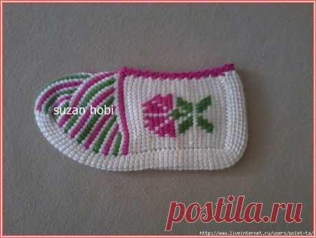 Тапочки-следки крючком.Тунисское вязание - Немного