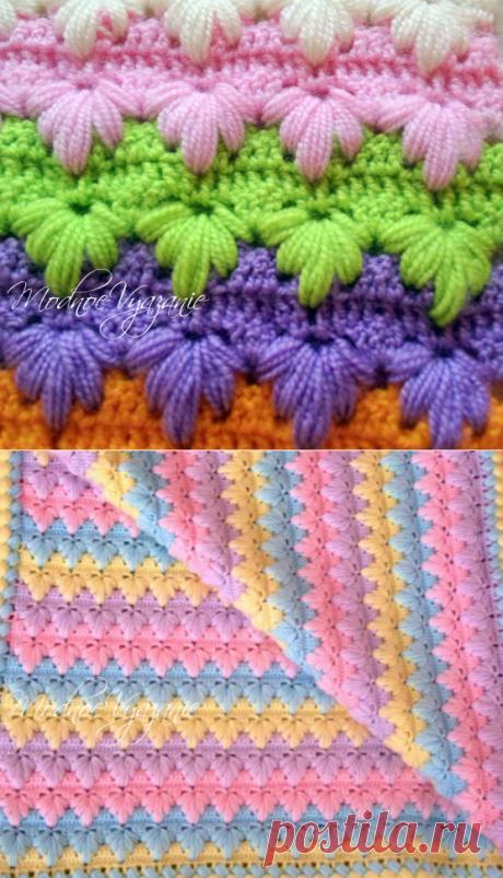 Двухсторонний узор *Листочки из пышных столбиков* - Crochet.Modnoe Vyazanie ru.rom