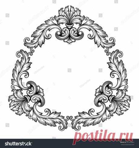 Стоковая векторная графика «Vintage Baroque Frame Scroll Ornament Engraving» (без лицензионных платежей), 241976863: Shutterstock