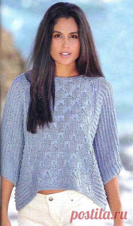 Пуловер оверсайз с цельновязанными рукавами - Вязаные модели спицами для женщин