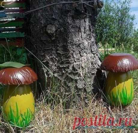 Делаем садовые грибочки из гипса