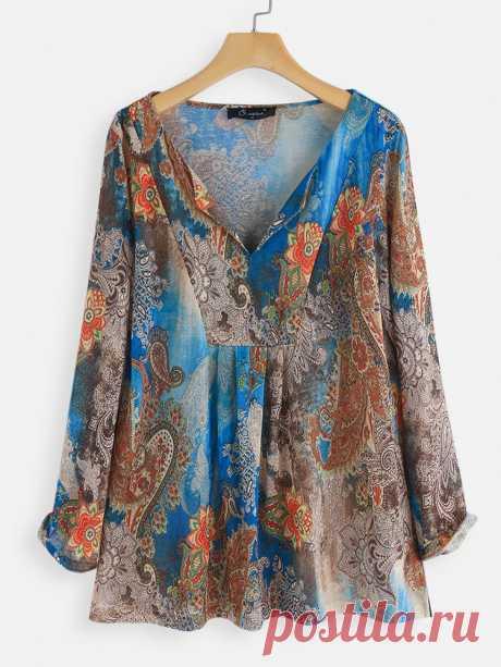Винтаж принт с v-образным вырезом Plus размер блузка Посетите Newchic, чтобы получить подарок US$60 для нового пользователя ! Получите бесплатную доставку и возврат в течение 14 дней или гарантия возврата денег.@Newchic, ваш первый выбор для онлайн-покупок