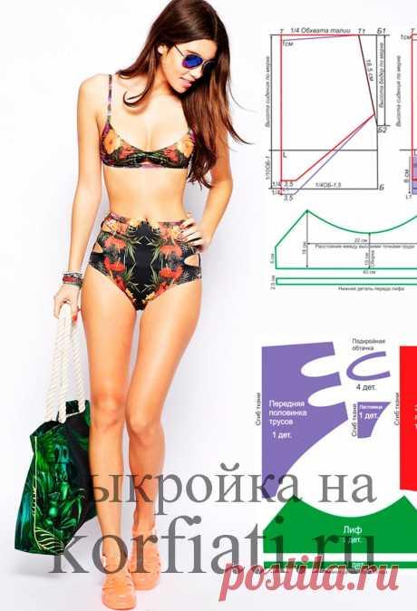 Выкройка бикини от Анастасии Корфиати Выкройка бикини. Высокий низ с эффектными вырезами и оригинальный верх – этот бикини создан для настоящих звезд! Выкройка нижней части бикини моделируется..