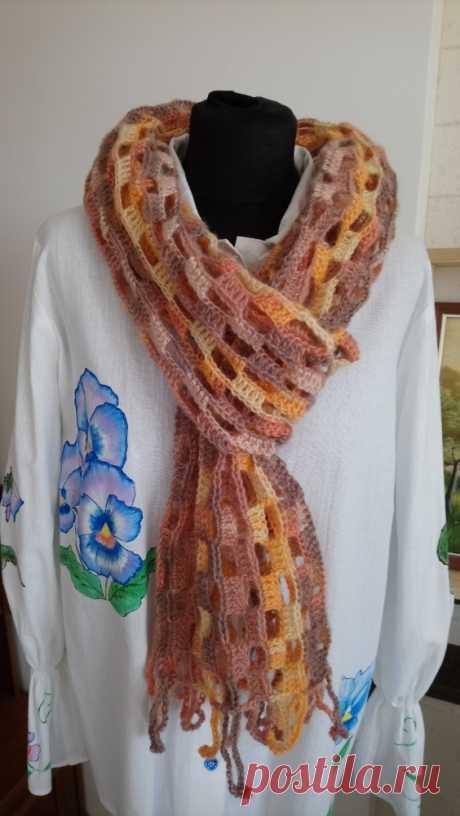 Шарф ажурный вязаный женский: 280грн, Шарфы, платки, перчатки, Женское