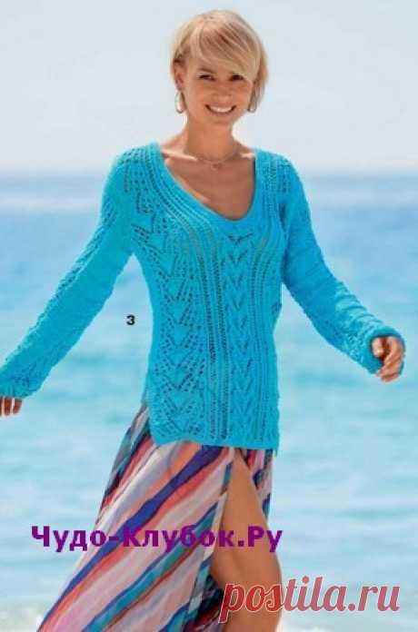 Ажурный пуловер вязаный спицами 1866 | ✺❁сайт ЧУДО-клубок ❣ ❂✺Сочетание ажурных узоров придает пуловеру ценность ручной работы, а также оригинальность. Добавьте боковые разрезы, V- образную горловину и узкие рукава - ❂ ►►➤6 000 ✿моделей вязания ❣❣❣ 70 000 узоров►►Заходите❣❣ %