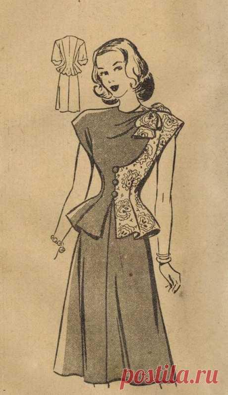 1940s Mail Order 3805 FF Vintage Sewing Pattern Misses Dress Size 12 Bust 30