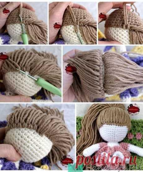 Как сделать волосы, для куклы, связанной крючком / Мое творчество - вязание