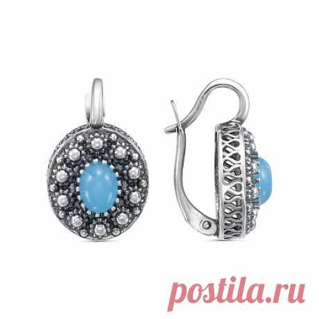 Серьги 33311502г серебро, агат голубой иск., производитель Красная Пресня - купить в интернет-магазине Серебряная птица