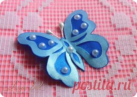 Бабочки из атласных лент по шаблону силуэтного вырезания