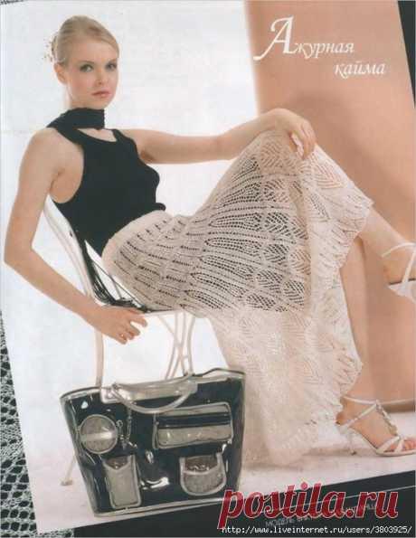 Сказочно красивая ажурная юбка спицами