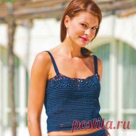 Топ с ажурной отделкой - схема вязания крючком. Вяжем Топы на Verena.ru