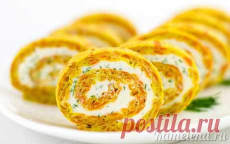 Морковный рулет со сливочным сыром
