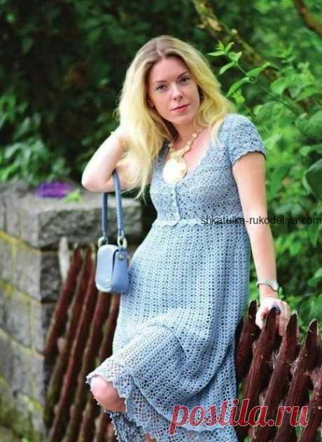 """Платье """"Голубой ирис"""" Платье """"Голубой ирис"""" крючком. Летнее платье с коротким рукавом крючком"""
