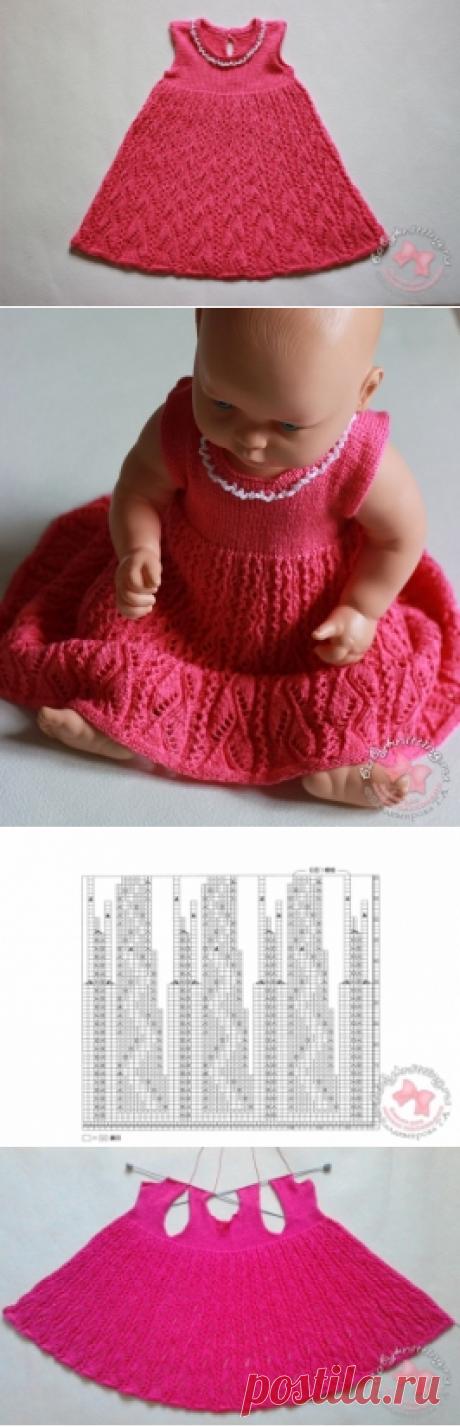 Ажурный сарафан спицами для девочки 6 — 12 месяцев | Вяжем для самых маленьких! Дневник вязания Владимировой Татьяны.