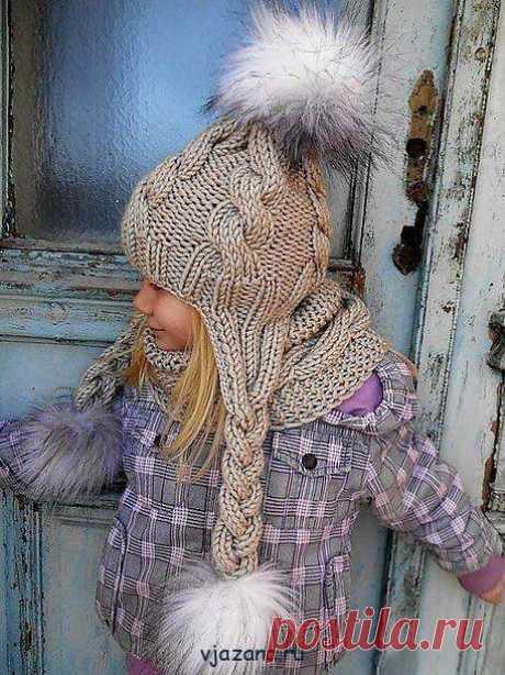 связать шапочку с ушками спицами для девочки 5-6 лет | Вязана.ru