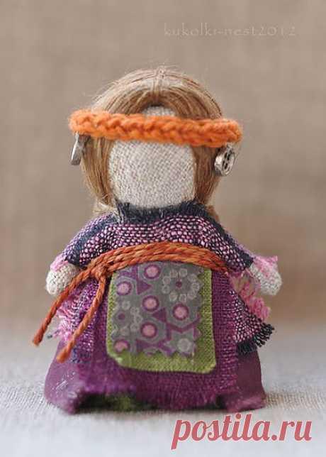 """Куколка на счастье""""...с оранжевым ободком"""". Куколка в кармашек"""