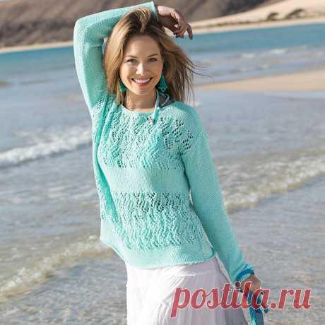 Джемпер мятного цвета - схема вязания спицами. Вяжем Джемперы на Verena.ru