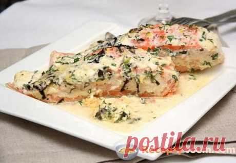 The baked salmon, with white wine and leek sauce — the recipe