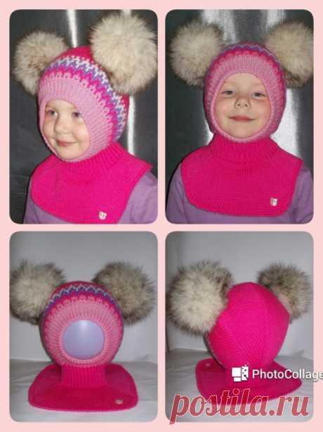 Шапочка-шлем с помпонами