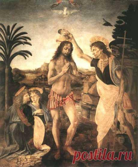 Андреа дель Верроккио и Леонардо да Винчи. Крещение Христа. (~1472-1475) Масло на дереве. Галерея Уффици Флоренция, Италия. «Верроккио поручил Леонардо написать ангела, держащего одеяния. И, хотя тот был юнцом, он выполнил это так, что ангел Леонардо вышел много лучше, нежели фигуры Верроккио». (Вазари-1550г). Далее искусствовед Вазари добавляет, что учитель так был расстроен явным превосходством своего ученика над собой, что с тех пор не прикасался к кисти.