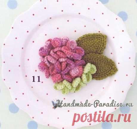 Adornamientos por el gancho con los colores de la hortensia