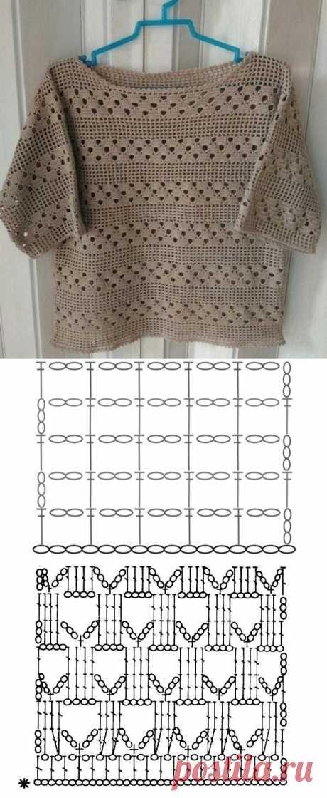 Novos modelos de blusa de crochê com gráfico do ponto ⋆ De Frente Para O Mar