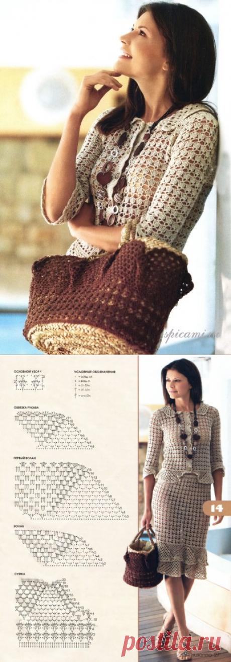 Очень красивый комплект, состоящий из жакета, юбки и сумки связан из тонкого хлопка.