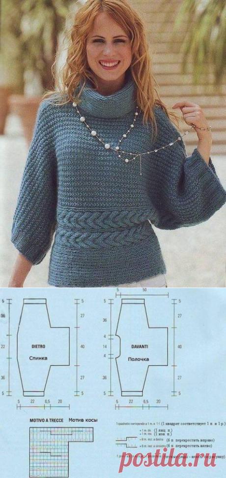 Вяжем теплый пуловер