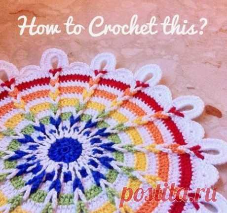Rainbow Crochet doily   Mazourka-Iris