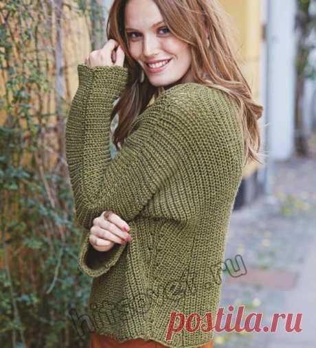 Стильный пуловер патентным узором - Хитсовет